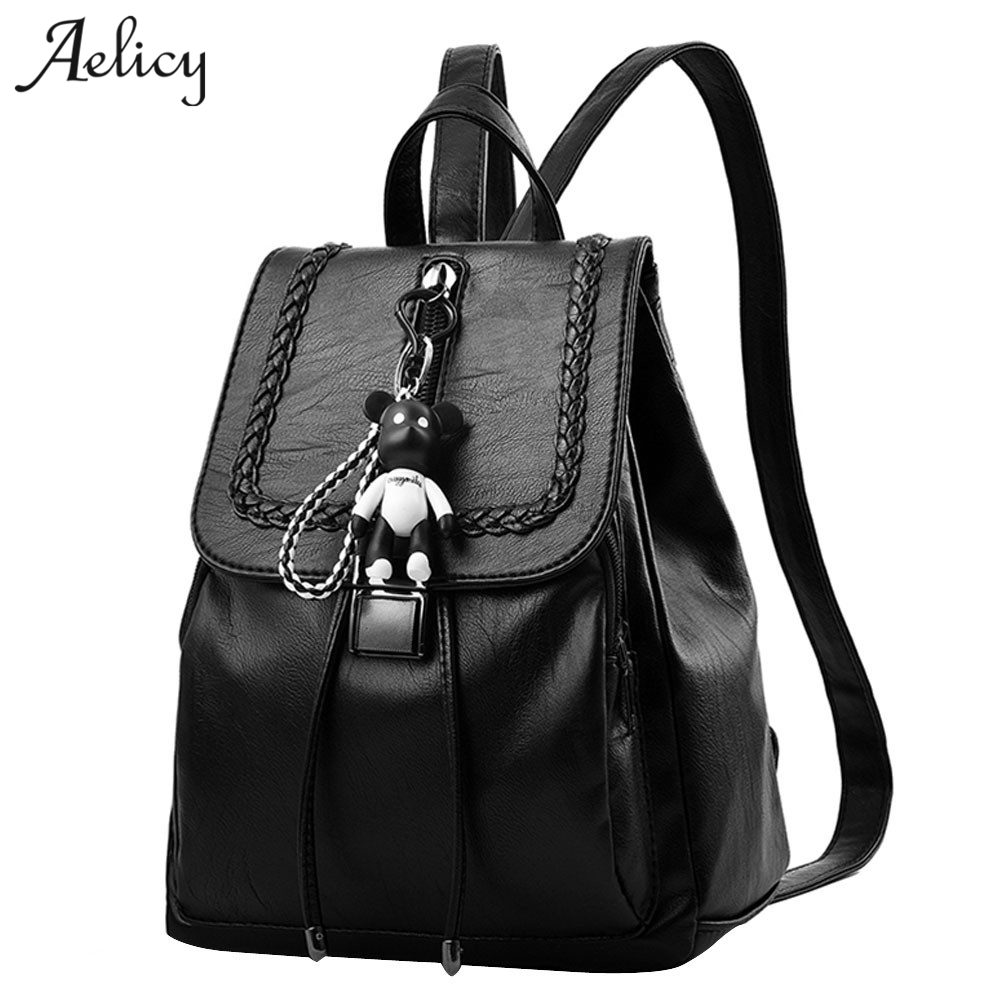 Aelicy New Travel Backpack Fashion Designer Women Female Rucksack Soft PU Leather Women Bag Leisure backpack schoolbag 1024