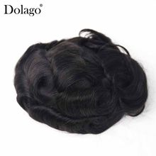 "Men Toupee 8X6"" Fine Mono Center with Poly Perimeter Hair Swiss Lace Men Toupee Repacement Hair Prosthesise Silk Base Dolago(China)"