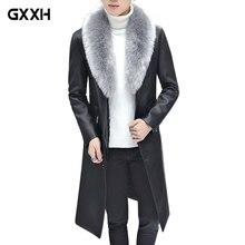 Новинка 2019 года, зимний блейзер с меховым воротником, длинное пальто с мехом для мужчин, мужская деловая повседневная кожаная куртка, Флисовая теплая Толстая куртка, XXXL