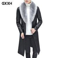 2019 New Winter Blazer Fur Collar Long Section Men fur Coat Men's Business Casual Leather Jacket Fleece Warm Thick Overcoat XXXL