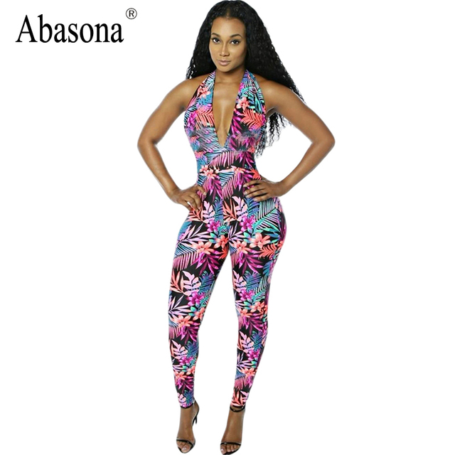 Rompers Womens Jumpsuits Sexy Bodycon Fit Summer 2017 Tropical Floral Printed Bodysuits Backless Deep V Stretch Long Pants