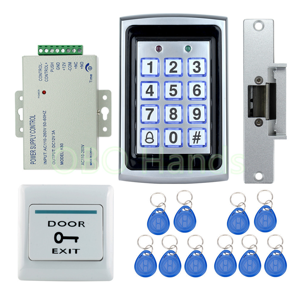 Free shipping Full waterproof access control system kit set with Electric Strike Lock 7612 metal access control+power lock+keys t handle vending machine pop up tubular cylinder lock w 3 keys vendo vending machine lock serving coffee drink and so on