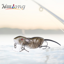 Купить с кэшбэком Mmlong 6.3cm Plastic Rat Fishing Lure Crank Bait RAT4-M 10.3g 2 Segments Swim Baits Artificial Mouse Lures Fishing Wobblers