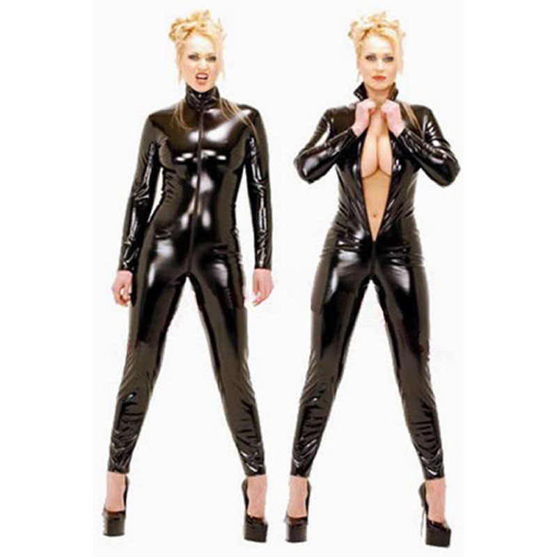 Hot high quality Polished leather women bodysuit top XXXXXL plus size catsuit lingerie zipper clubwear costume with open crotch