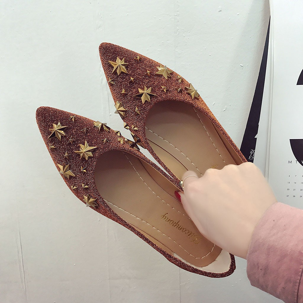 2019 Mocassins Métal Zapatos Profonde De Casual Peu argent Vintage Unique Bling marron Mode Mujer En Printemps Chaussures Étoiles Noir Dames Femmes rprwfP