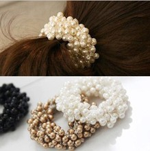 Hot Sale New 2016 Hair Accessories Pearl Rubber bands Headwear For Women Elastic Hair bands F058