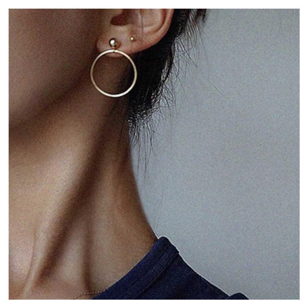 แฟชั่นโลหะขนาดเล็ก Ball Drop ต่างหูเครื่องประดับ Punk Style GOLD Sliver สีรอบวงกลม Dangle ต่างหูสำหรับผู้หญิง