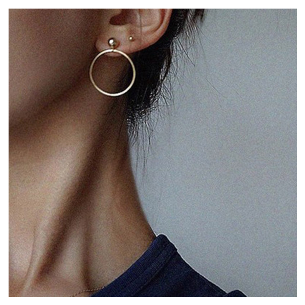 Fashion Small Metal Ball Drop Earrings Jewelry Punk Style Gold Sliver Color Round Circle Dangle Earrings Best Gift For Women