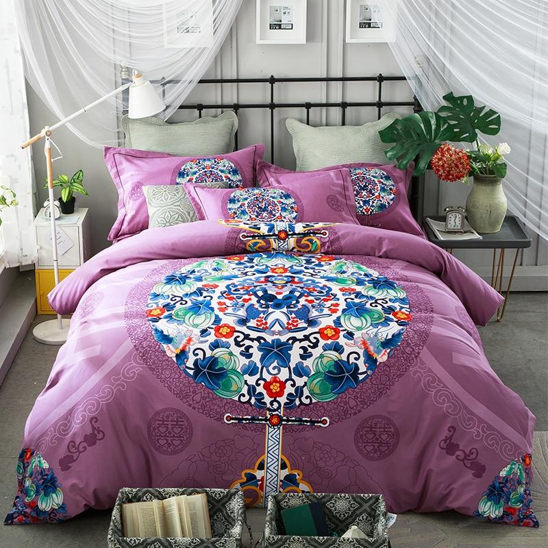 100%Cotton Warm Bed sheet set Floral Boho Bedding set King Queen Size 4Pcs Duvet cover Bed linen spread set Pillow covers