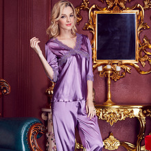 Summer autumn Luxury womens Satin Sexy Sleepwear Silk Pajamas Set with Pants Pure Nightwear