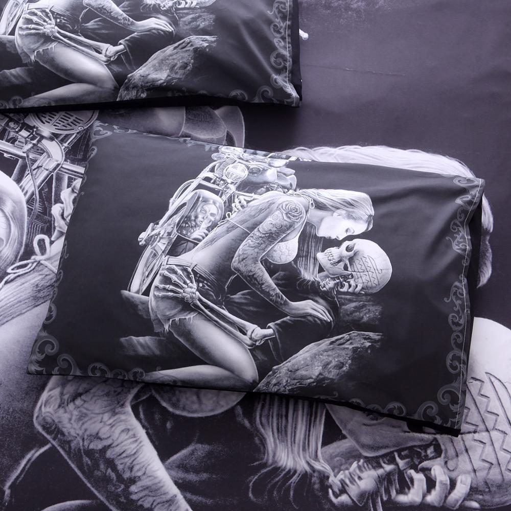 Image 5 - New 3D Black Motorcycle Skull Printed Duvet Cover Set 2/3pcs Single Queen King Bedclothes  Bed Linen Bedding Sets No sheet SJ126-in Bedding Sets from Home & Garden