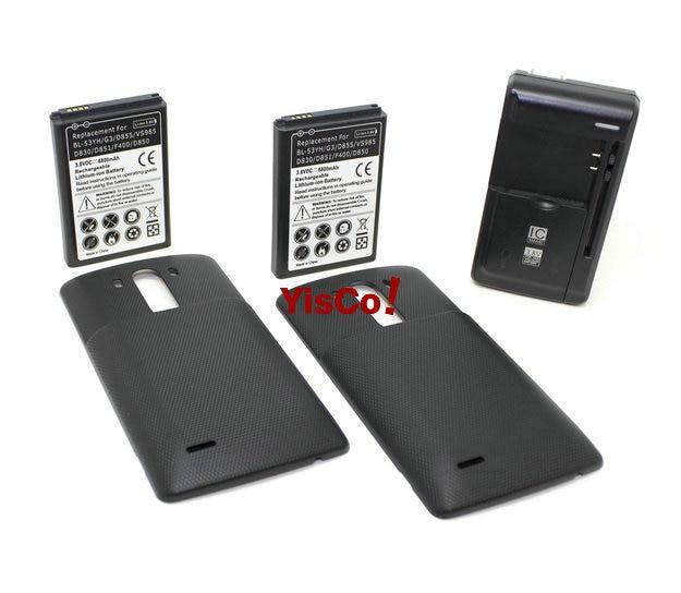 imágenes para 2x6800 mAh Amplió La Batería + La Cubierta 3 Color Opcional + Universal cargador para lg g3 bl-53yh g3 d855 f400 d830 d850 vs985 D851