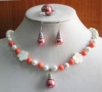 birthday gift! jewelry set!Wholesale Women's 8mm pink & orange pearl Necklace earring ring(7/8/9) set #224 5.31