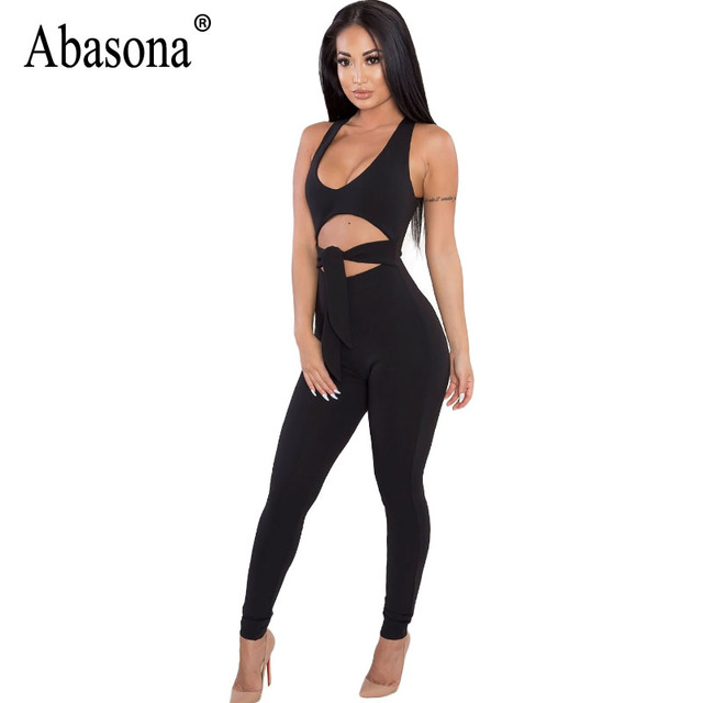 Abasona Women Jumpsuits Sexy Cut Out Sleeveless Women Overalls Party