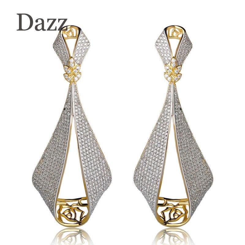 Dazz Shining Large Pendant Earrings Two Tones Color Copper Jewelry Full Rhinestones Big Drop Earrings Women Girls Wedding Bijoux