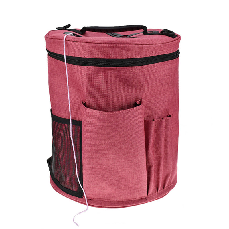 Knitting Canvas Large Cylinder Woolen Yarn Storage Bag Kit Tote Organizerwith Divider for Crocheting Portable Holder