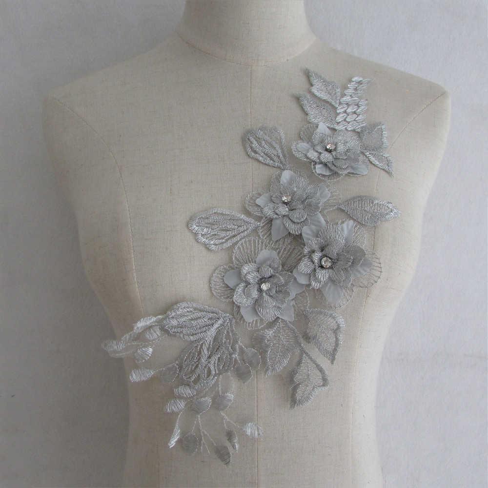 1pc Craft silver Collar Venise 3D Floral Lace Applique Trim Decorated  Neckline neck Collar Sewing Dress 422d36558c17