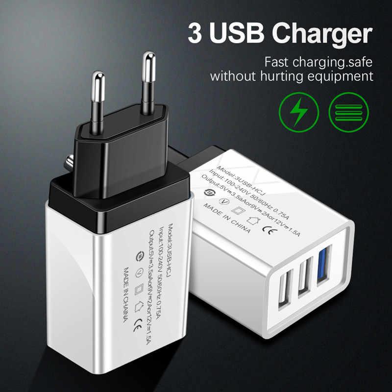 EU/米国のプラグイン 3 ポート USB 電話アダプタ充電器は、高速 iphone × xiaomi サムスン華為タイプ c マイクロ USB ケーブル