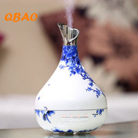 300ML Ultrasonic Air Humidifier Blue White Porcelain Vase Air Freshener Essential Oil Diffuser Aroma With LED
