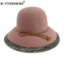 BUTTERMERE Striped Summer Brim Hat For Women Elegant Pink Beach Lady Foldable Adjustable Vintage Straw Female 2019