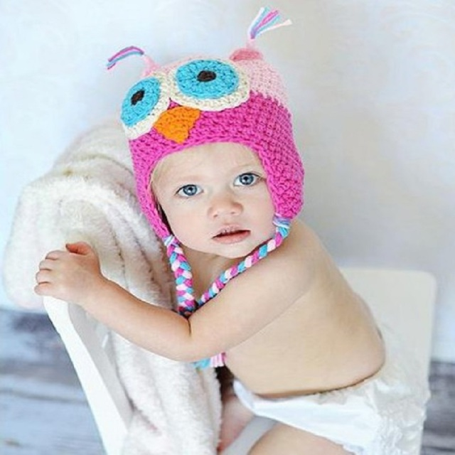 Hooyi Baby Girls Hat Owl Crochet Newborn cap headwear Beanie Kids ...