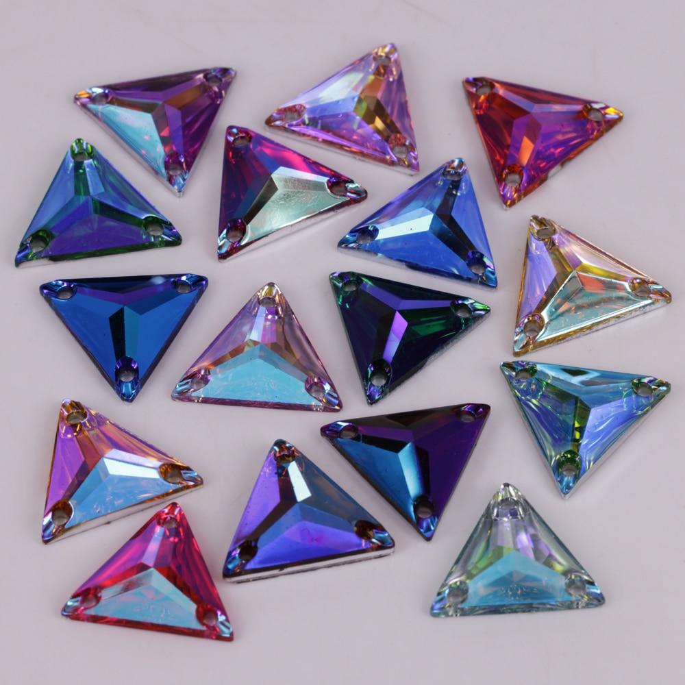 Buena calidad 12mm, 16mm, 22mm Colores AB Tri-ángulo resina costura en pedrería espalda plana coser piedras