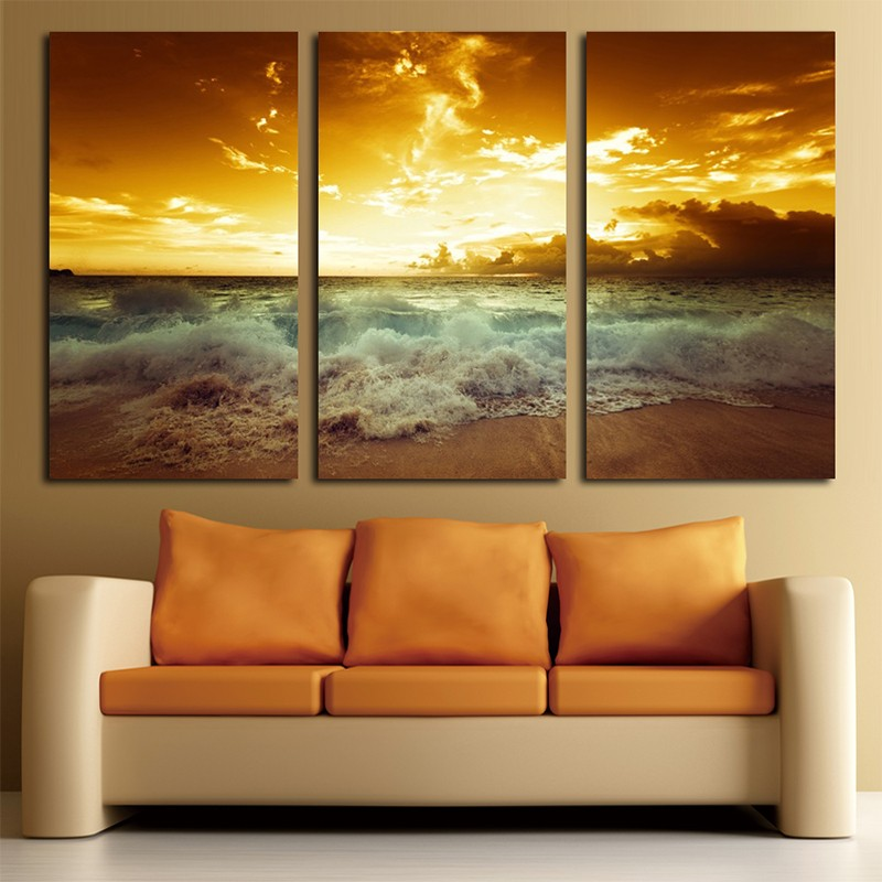Canvas Paintings Living Room Wall Art Frame 3 Piece Yellow ...