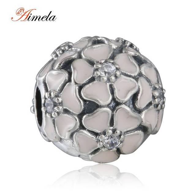 2016 Spring New Pink Cherry Blossom Stopper Lock Clip Enamel Flower Charm Beads 925-Sterling-Silver Fine Jewelry DIY Accessories