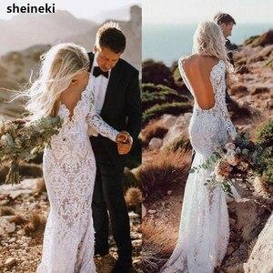 Женское винтажное кружевное платье-Русалка с глубоким v-образным вырезом, длинным рукавом и открытой спиной, свадебное платье в пол, 2019