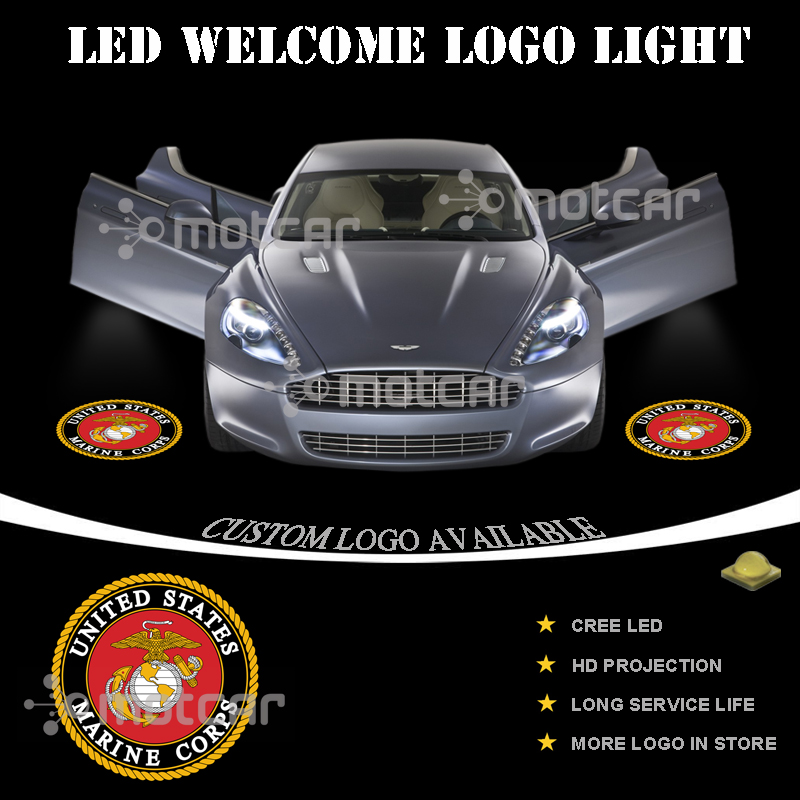 2x United States Marine Corps Car Door Wireless LED Laser Projector Shadow Light