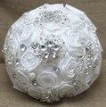Невесты Горный Хрусталь брошь Свадебные Украшения цветы Розы букет Невесты White Satin Романтический Свадебный букет Цветы Невесты