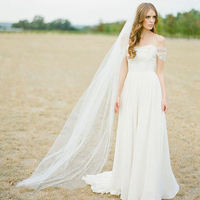 Don S Bridal 2017 New Bridal Veils With Comb 2 Meter 1 Layers Elegant Soft Tulle