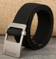 Brief glossy smooth buckle knitted canvas belt casual cloth strap lengthen male girls