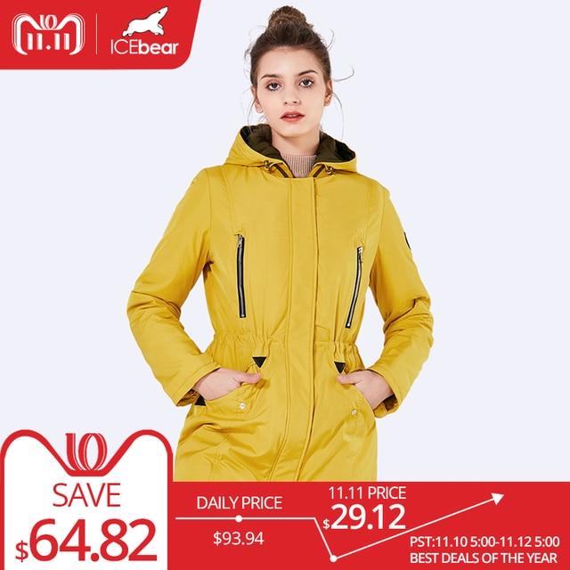 Icebear 2018 новый бренд одежды женщины весна осень сельма длинные тонкие куртка шляпа съемный открытый теплое пальто 16G262D