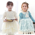 Spring Autumn 2017 Kids Dresses For Girls Long Sleeve Cotton Dress Girls Cute Korean Puff Sleeve Turn-down Collar Clothing