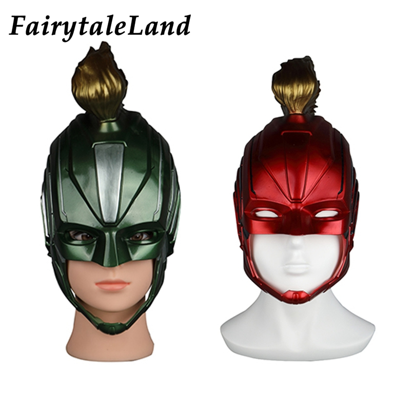 Captain Marvel Mask Cosplay Accessories Halloween Party Mask PVC Helmet Carol Danvers Cosplay Hat