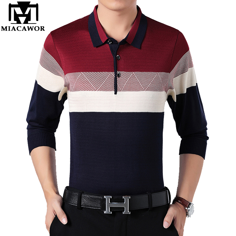 MIACAWOR New Men   Polo   Shirt Spring Long sleeve   Polo   Men Slim Fit knitting Camisa   Polo   Masculino Brand Men Top Tee T682