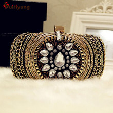 2016 New Women's Banquet Clutch Fashion Diamond Flower Chain Evening Bag. Wedding Party Handbags Purse Ladies Shoulder Bag