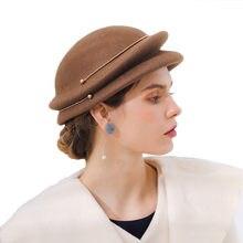 Sombrero de fieltro de lana las mujeres boina rosa sombreros de invierno  negro moda Vintage de las señoras boda Derby Fedora som. 9ac8058abb8
