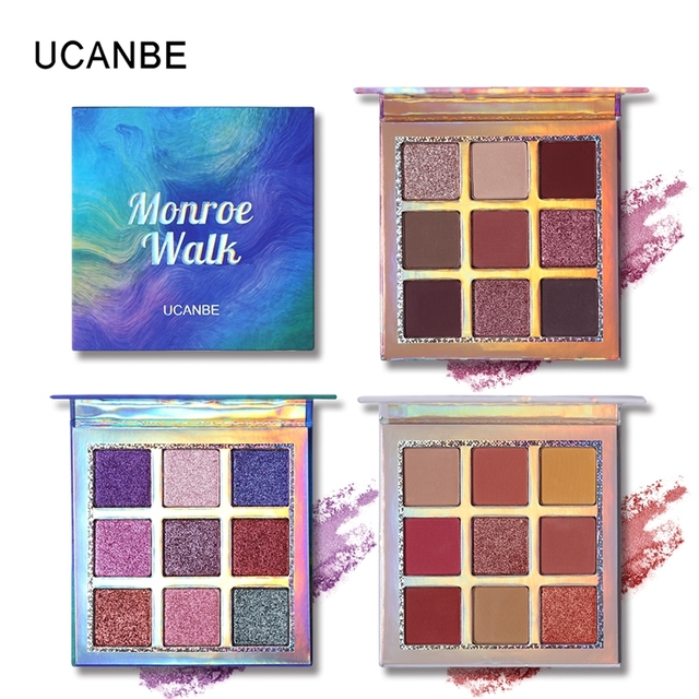 UCANBE Brand Shimmer Matte Eyeshadow Makeup Palette 9 Colors Holographic Nude Glow Pigment Eye Shadow Long Lasting Cosmetic Set 1