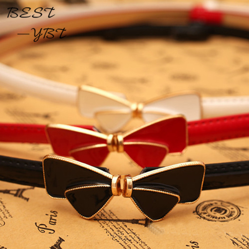 Girls Fashion Accessories Korean version of the simple and stylish patent leather bow women's decorated Slim thin leather   belts