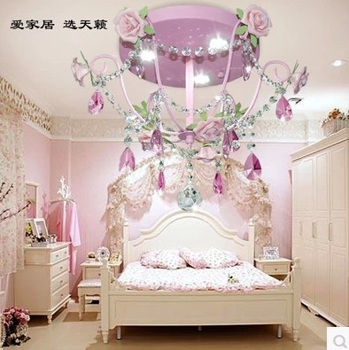 Pink Princess Korean Pastoral Flowers Sitting Room Light Children Bedroom  Light Girl Rose Light LED Crystal
