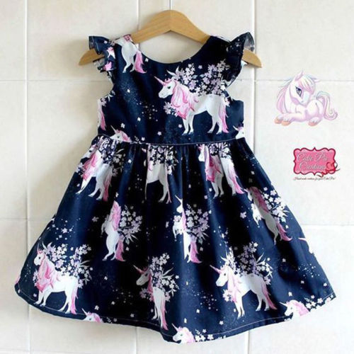Nova moda Infantil vestido Da Menina do Miúdo Unicórnio floral impresso Casual Vestidos One-Piece Traje vestido a-line