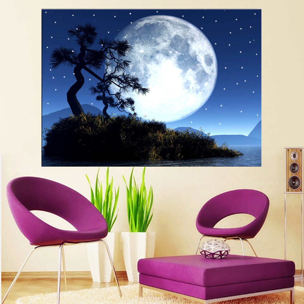 LED Canvas Painting Tree Under Moon Night Sky LED Flashing Optical Fiber Picture Perfect Gift for Home Decoration