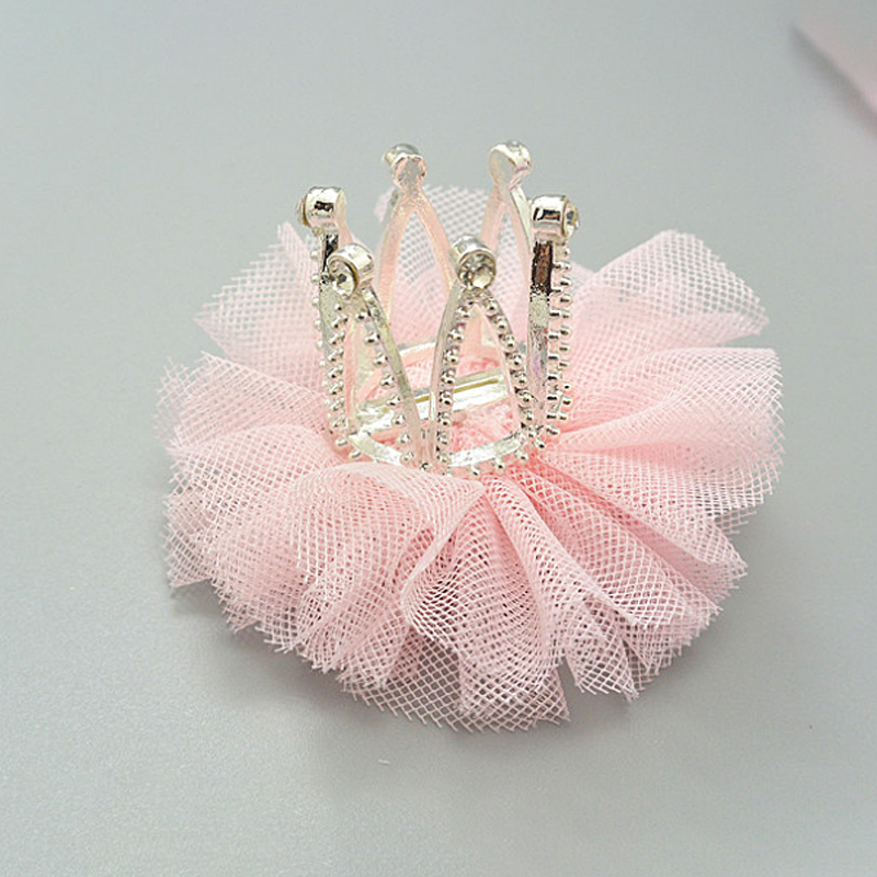 Children's Mesh Rhinestone Crown Hair Pins Princess Hair Accessories Baby Hair Clips Stereo Tiara Lace Sweet Hairpins For Girls