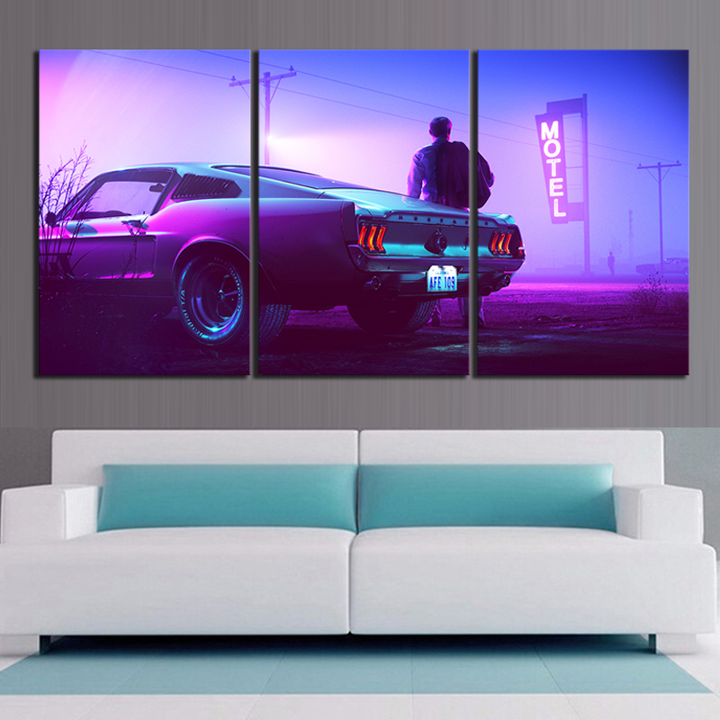 Canvas Art Movie Mountain Top Car Drive Ford Mustang Men Vehicle Motel Painting Wall Art Home Decor 2