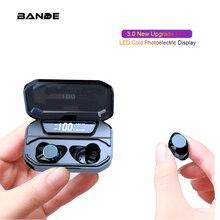 Bt 5.0 fone de ouvido esportes microfone sem fio com caixa de carregamento para o telefone inteligente