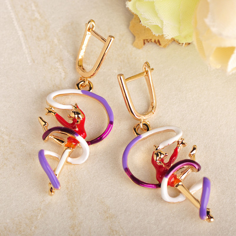 Blucome Fashion Ribbons Gymnastics Girls Shape Earrings Red Enamel Alloy Women Girls Party Birthday Gifts D Hooks Ear Jewelry