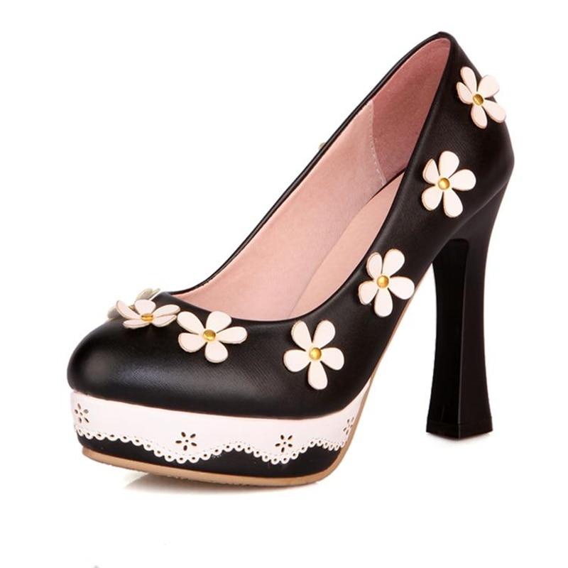 De Fleurs Lolita Noir vert Rose Doux Et noir À rose Soirée Chaussures Hauts Talons Princesse Plateforme Dentelle vert Clair Fille FqcgB