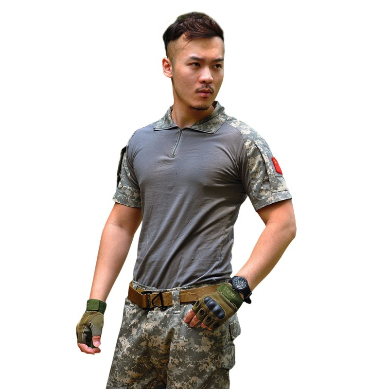Camouflage print Short sleeve T Shirt Russia brave Men Military fans Army Soldiers black green Camo Outdoor Combat Tactical Tees in T Shirts from Men 39 s Clothing